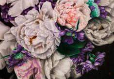 "Saatchi Art Artist Francesco Raffa; Painting, ""Peonie bianche e violette"" airbrush & acrylic on canvas #art"