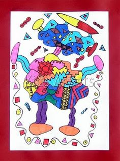 miro: draw an animal or a human being with waterproof black marker. Don't sketch first, draw directly with the marker! Your figure should consist of organic and / or geometric shapes. Divide large fields in forms or make them smaller with different lines. Colour your drawing with bright colours. Decorate the background with lines, shapes and coloured eyes. Paste the work finally on a coloured background.