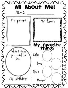 Worksheets All About Me Worksheet For Preschool 1000 images about all me activities on pinterest poster freebie have them do at the beginning and end of each school year yup oh my i remember kids doing these