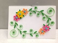 Paper Quilling Card Floral Paper Quilled by SomethingInTheBox