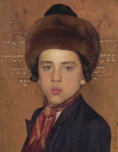 Isidor Kaufman (1853-1921) Portrait of a boy dressed in Hasidic clothing - Olio su pannello, 26 x 20 cm Coll. privata