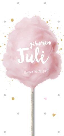 Sweet en uniek geboortekaartje voor een meisje. Met echte roze suikerspin, speelse spetters, hartjes, sterren en een houten stokje. Alles is te bewerken. Gratis verzending in Nederland en België.