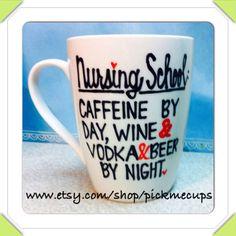 Nursing school coffee mug. - few different options - nurse - be safe drink with a nurse- nursing gift on Etsy, $22.00