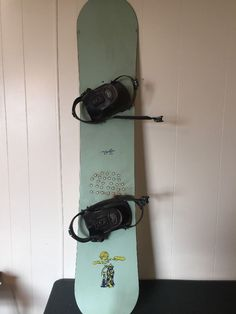 Vintage Might 50 Snow Board W/ Streak Foot Braces Cat & Grimm Reaper Decals