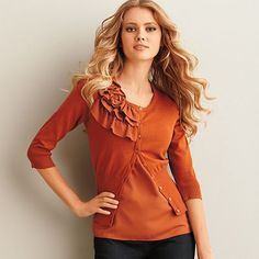 ELLE Ruffle Rosette Cardigan - my new fall fave. Not a color I would normally get, but I just love it!