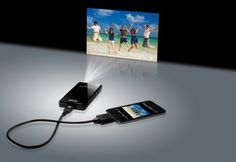 The size of a cell phone, the projector connects directly to your iPod, iPhone or iPad (or, with an adapter, to a laptop or digital camera).