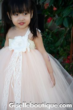 Flower girl dress Peach with Lace TuTu by giselleboutique on Etsy