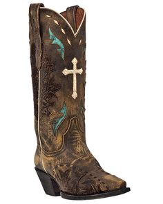 """Dan Post Womens Tan Sanded Leather Anthem Cross 13"""""""" Cowboy Boots"""