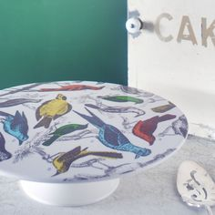 Pretty--Thomas Paul Ornithology Cake Stand.