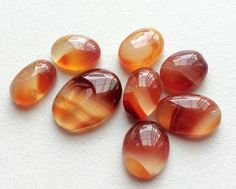WHOLESALE 8 Pcs Orange Onyx Cabochons Shaded by gemsforjewels
