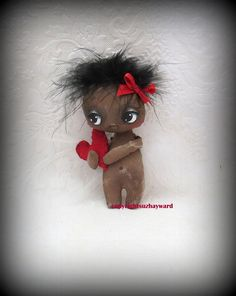 Tiny Black baby Angel  cloth doll by suziehayward on Etsy, $59.00