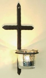 Small Rustic Cross Votive Candle Holder Wall Sconce, Set of 2 - Candle Holder