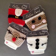 Items similar to Christmas Coffee Cozy on Etsy Christmas Coffee Cozy by ShopLolaMae on Etsy Crochet Coffee Cozy, Crochet Cozy, Crochet Gifts, Cute Crochet, Coffee Cozy Pattern, Coffee Cup Cozy, Coffee Corner, Coffee Scrub, Coffee Break