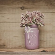 dusty plum | Dusty plum painted mason jar.