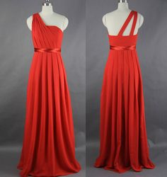 Red Prom Dress One Shoulder Long Chiffon Prom por harsuccthing