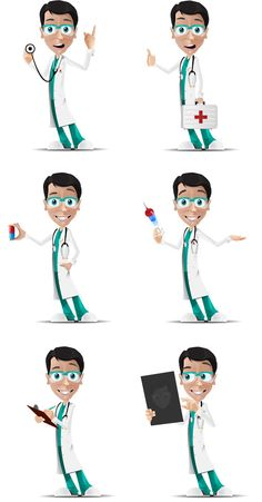 Doctor Character in 6 Poses Free Vector