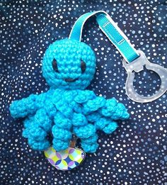 Octopus Crochet Pacifier Clip - Blue, $10.00