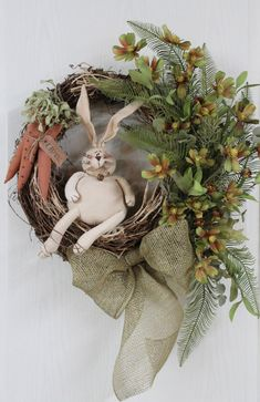 Easter Bunny Door Wreath Primitive Cubby Bunny by FloralsFromHome, $132.00