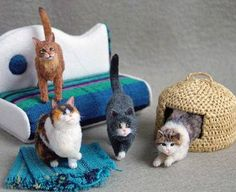 Little needle felted cats