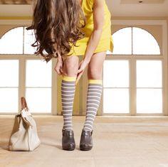 0c6db4f75d Vim & Vigr 15-20 mmHg Women's Stylish Compression Socks - Nylon (Grey,  White & Yellow)