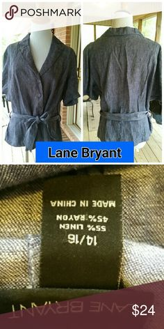Gorgeous Lane Bryant Denim Top! Belted Denim Top by Lane Bryant in 14-16! Denim buttons and belt adorn this cute top! See pics for details and material info Lane Bryant Tops