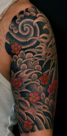 Traditional Japanese Water tattoo with cherry blossoms Japanese Water Tattoo, Japanese Tattoos For Men, Japanese Flower Tattoo, Japanese Sleeve Tattoos, Tattoo Arm Mann, Wind Tattoo, Girl Back Tattoos, Arm Tattoos For Guys, Wave Tattoos