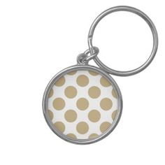 White Polka dots on Christmas Gold Keychain - christmas keychains family merry xmas personalize gift idea