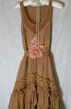 Boho prairie dress beige tea stained tiered by vintageopulence
