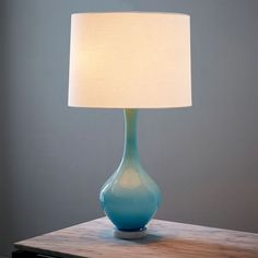 Would look so pretty in my bedroom! west elm + Rejuvenation Colored Glass Table Lamp - Light Blue | west elm
