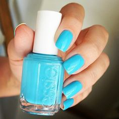 Nail polish: light neon blue form the brand called essie ❤ liked on Polyvore