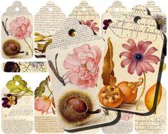 INSTANT DOWNLOAD diGitAl CollAge SheeT VinTage EpheMera DiGitaL DowNloaDs Gift Tag bacKgrounds Printables Flowers Butterflies, No. 116