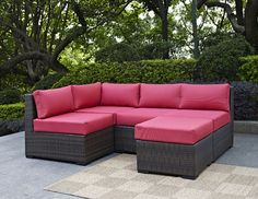 Rattan Sectional Conversation Set with Sunset Red Cushions