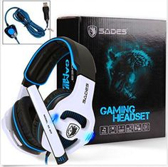 SADES SA903 USB 7.1 Surround Sound Stereo Gaming Headset Over Ear. SADES SA903 USB 7.1 Surround Sound Stereo Gaming Headset Over Ear Headphones for PC with Microphone Volume-Control LED light (White). | eBay!