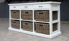 Hamptons-style-storage-Sideboard-Cupboard-Chest-of-6-rattan-drawers-mahogany