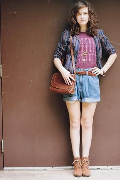Plaid Shirt, The Civil Wars Band Tee, and Vintage Shorts. Perfection.