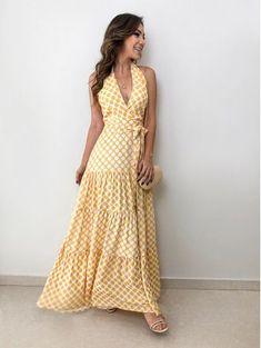 Vestido-Poa-Cristina Modest Fashion, Boho Fashion, Fashion Dresses, Sun Dress Casual, Casual Dresses, Sundress Outfit, Dress Skirt, Pull Torsadé, Nice Dresses