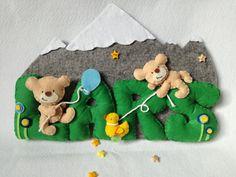 Fiocco nascita banner nome feltro lettere baby Kids di FattoDaDesy
