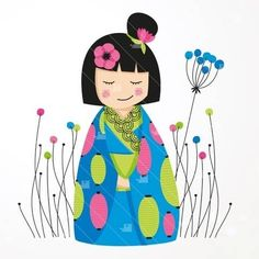 Jolies poupées kokeshi 100/% coton naturel épaule fourre-tout shopping//livre//sac de gym