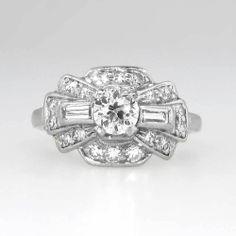 Spectacular 1930's Old European Cut & Mixed Cut Diamond Engagement Ring Platinum