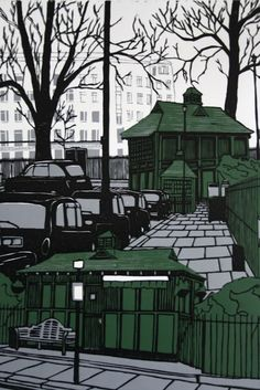 SECRET LONDON, Ben Lobos, Reduction lino print