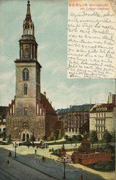 Die Marienkirche mit Lutherdenkmal.. Wo ist denn eigentlich das Lutherdenkmal geblieben?.. 1906
