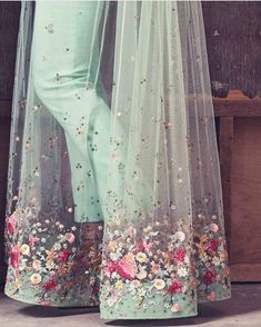 Fashion dresses - Mint green and sheer detailing by weddings detail fashion bride indianbride sheer indianwedding indianwear… Indian Gowns Dresses, Pakistani Dresses, Ivory Prom Dresses, Indian Wedding Outfits, Indian Outfits, Indian Attire, Indian Wear, Indian Designer Outfits, Designer Dresses