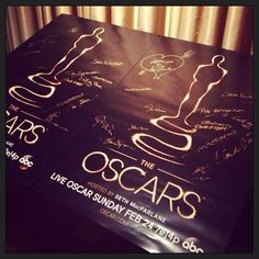 Every winner signs this poster backstage Oscars. Photo by The Academy Instagram