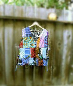 Sale Patchwork Reversible Vest/ Eco Fashion Boho Mori by KheGreen