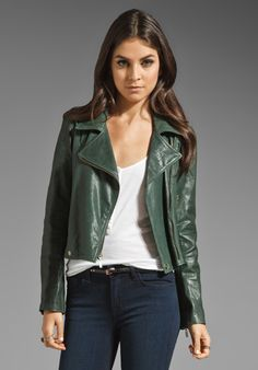 JACKSON Washed Italian Lamb Skin Leather Jacket in Hunter Green
