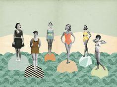 vintage collage bikini