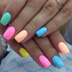 Multi color pastel colors nailart nail nailart nailidea nailinspiration naildesign nagel nageldekoration chiodo clou uña is part of Prom nails Red Tips - Prom nails Red Tips Summer Acrylic Nails, Cute Acrylic Nails, Spring Nails, Cute Nails, Summer Nails, Rainbow Nails, Neon Nails, My Nails, Dark Nails