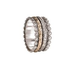 This Meditation spinning band features a beautiful and intricate flower detailing around the edges of the band. Also known as spinning rings, spinner rings, or worry rings. Diy Jewelry, Jewelry Rings, Jewelry Design, Jewellery, Jewelry Ideas, Gold Rings, Gemstone Rings, Meditation Rings, Spinner Rings