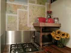 A fab new kitchen shelf (upcycled from the kids bunkbed ladder!) which almost doubles the size of the kitchen ;-)