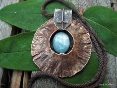 Copper and silver  fold form pendant with by JanEOjewelry on Etsy, $95.00